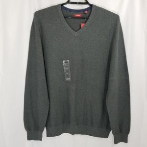 Izod Sweater Knit V Neck Grey New with Tags